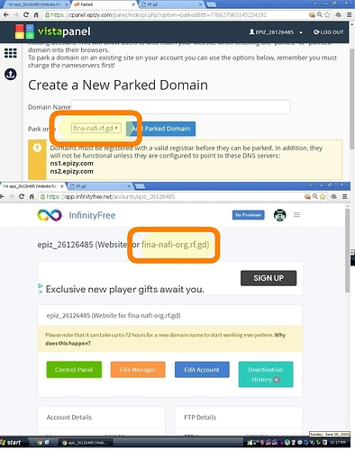 ONE account has TWO different FREE domains