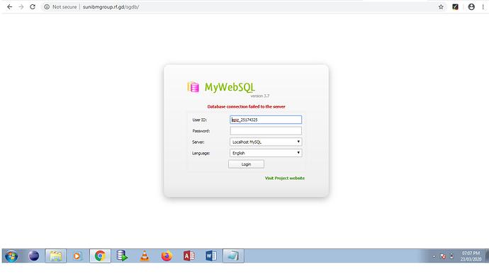 MywebSQL error
